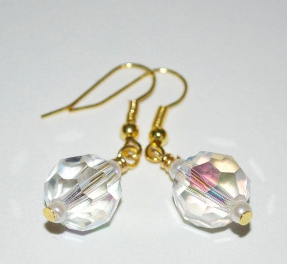 Drop Earrings, Wedding Jewelry, Crystal Pearl Dangle Earrings, Bridesmaid Gift, Beaded Jewelry, Crystal Bridesmaid Earrings, Bridal Jewelry