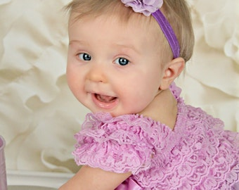Purple Baby Headband - Lilac Eyelet Flower and Lace Headband - Photo Prop - Newborn - Off White - Flower Girl