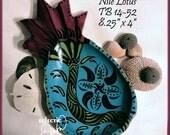 Funky Nile Lotus Hand-Painted Small Bowl TB14-52 Decorative Art OOAK
