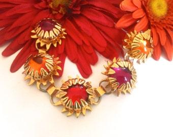 Sunburst Pink Orange Red Glass Link Bracelet Colorful Retro Fashion Jewelry