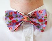 Handmade bow hair clip in pretty purple floral fabric