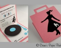 1950s Sock Hop Birthday Party Invitation - Pop Up Record Player