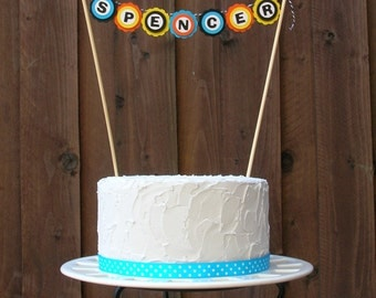 Mini Cake Banner Bunting Centerpiece for Construction Birthday Party, Personalized