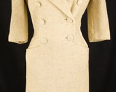 Vintage Handmade Cream Color Nubby Coat Dress with Pockets