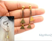 Triangle Earring Jacket, Front and Back Earrings, Electroplated Chain Earrings, Front and back Earrings,Ear Cuff, Ear Jacket, gift for her