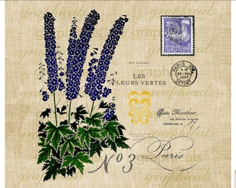 Paris Purple flowers Instant graphic Digital download image transfer for iron on image burlap decoupage paper tote bags pillows No. 2211