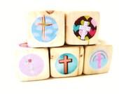 Christian gift for New Baby. Wooden Blocks.  Baptism. gift for kids. Crosses.  Room Decor. Sunday School. Newborn