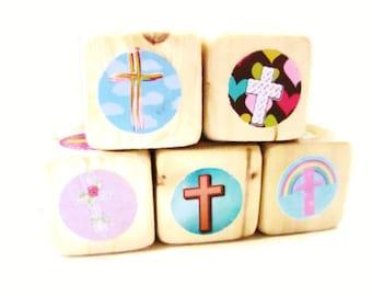 Christian gift for New Baby. Wooden Blocks.  Baptism. gift for kids. Easter present. Crosses.  Room Decor. Sunday School. Newborn