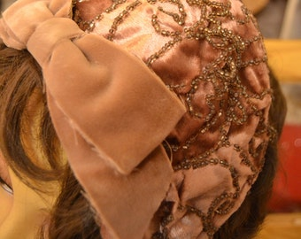 Brown Hat Velvet and Beads 1950s 1960s Vintage