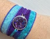 Silk Wrap Bracelet in Blue with Purple Glitter Resin Charm