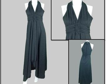 Black Grecian Halter Dress - 1970s Vintage