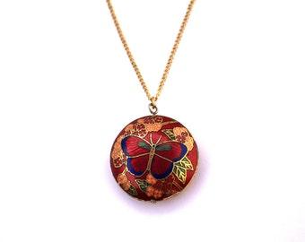 Vintage Cloisonne Butterfly Necklace