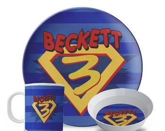 Superhero Plate Set, Personalized Children's Melamine Plate, Bowl, Mug Set, Superhero Birthday Plate Set