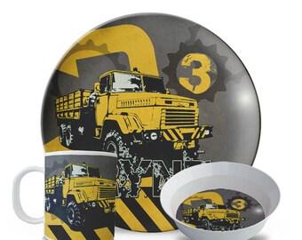 Personalized Melamine Plate Set, Personalized Construction Plate, 3 Piece Set, Plate, Bowl, Mug Set, Childrens Dump Truck Birthday Plate Set