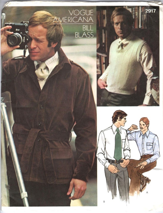 1970s Bill Blass men's jacket, sweater, shirt and necktie pattern with vintage Nikon camera - Vogue 2917