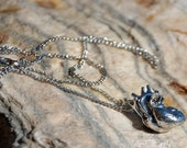 Anatomical Heart Necklace - Antique Silver