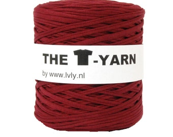 The t-shirt yarn 120-135 yards, 100% recycled cotton tricot yarn, bordeaux 101