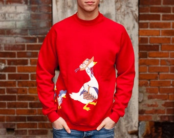 Vintage 80s Sweatshirt - red with mother goose or duck and babies - XL