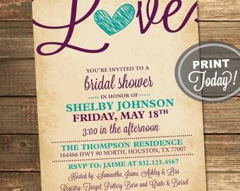 Rustic Bridal Shower Invitation, Love, Birds, Heart, Aqua, Purple, Teal, Rustic, Printable File (Custom order, INSTANT DOWNLOAD)