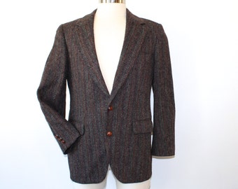 HARRIS TWEED Mens Blazer Wool Jacket Sport Coat Herringbone M 40S Charcoal Grey Red Teal Brown Navy 80s 1980s Fall Fashion Winter Fashion