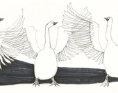 Original drawing WILD GEEESE // bird sketches by Elisaveta Sivas // 5,9 x 11,4'