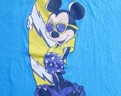 Vintage 80s Disney Surfing Mickey Mouse Blue T-Shirt