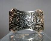 Vintage Bedouin Silver Bracelet Very Ornate Silverwork Handcrafted Filigree Pin and Hinge Cuff Bracelet DanPickedMinerals