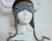 Viking Hat-Grey and brown viking hat with ear flaps and ties