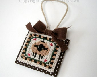 Sheep Cross Stitch Christmas Ornament Pattern Download Primitive Country