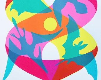 Converge 4-color 12.5 x 19 Handmade Screenprint