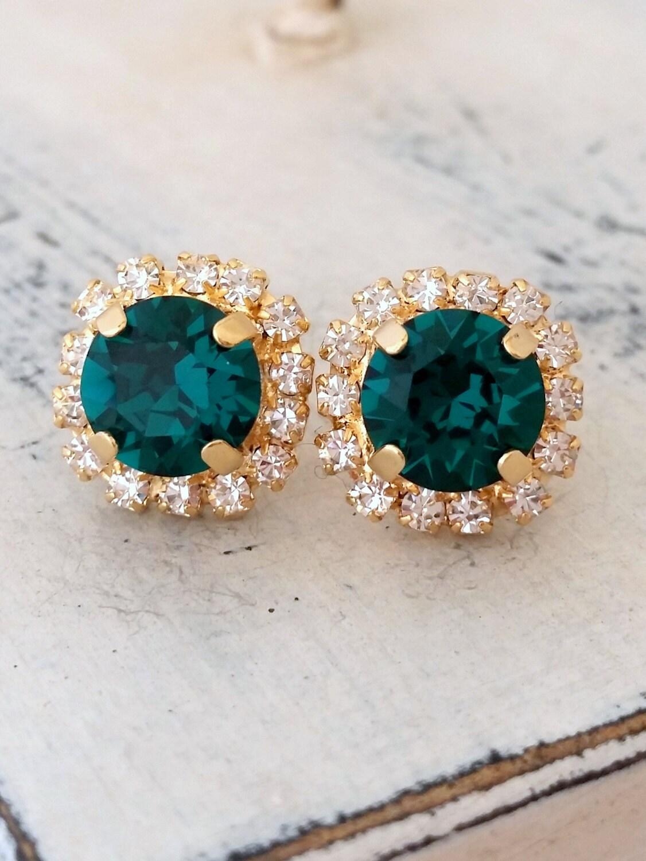 emerald earringsemerald green stud earringemerald bridal