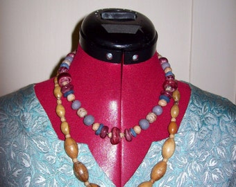 Vintage Ladies Wood Bead  & Clay Bead Necklaces Both Only 5 USD