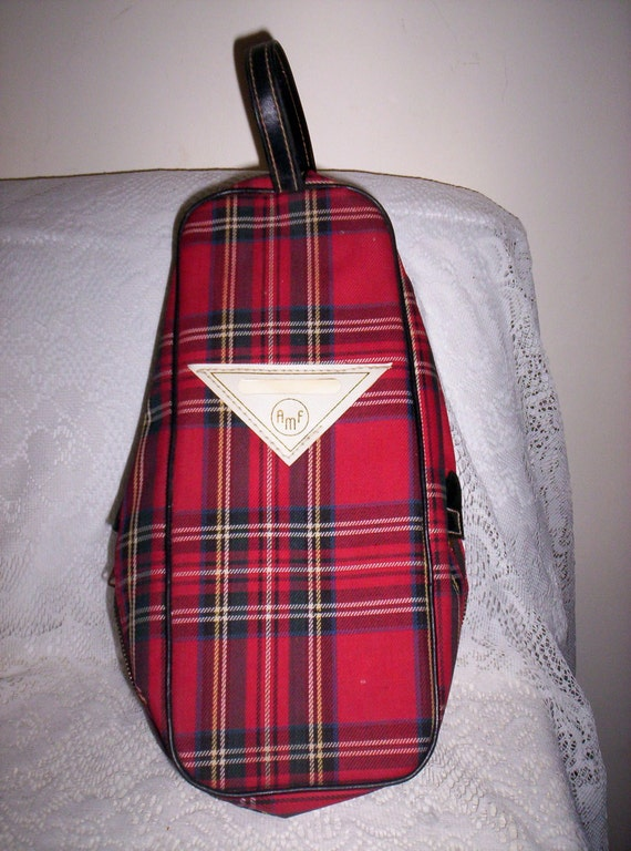 Vintage 1960s Red Plaid Amf Bowling Shoe Bag Only 10 Usd