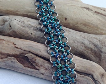 Japanese Lace Niobium Bracelet  - Ocean Greens and Blues - Great for Metal Allergies - Hypoallergenic - Ready to Ship