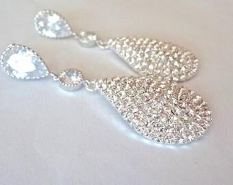 Crystal rhinestone earrings - Luminous - Large - Teardrops - Statement earrings - Sterling posts - Bridal jewelry - Prom - Bridesmaids -