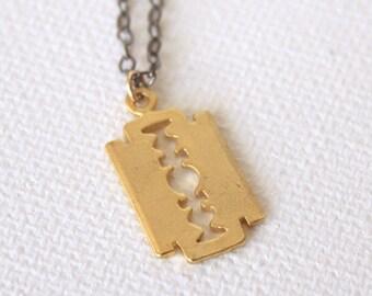 Edge of Glory Necklace - 18k Gold Razor Pendant Charm Necklace Gold Razor Blade Necklace