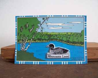 Vintage Minnesota magnet postcard Minnesota loon magnet Free shipping to USA