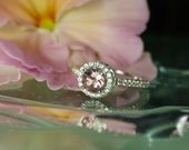 Pink Zircon Halo Ring Sterling Silver