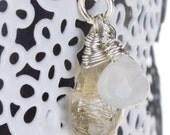 Gemstone Pendant necklace, Rutilated quartz and Moonstone, sterling silver, Gemstone silver  Pendant, wrapped gemstone necklace,