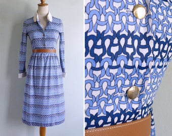 Vintage 80's Nautical Knots Blue & White Collared Shirt Dress XXS or XS