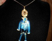 "SALE Your Very Own Dancing Cowboy! Gold Tone Cowboy Hat w/ Rhinestones on Necklace. Jointed Cowboy Outfit is 3 1/4"" Brooch. Great Fun. 19.90"