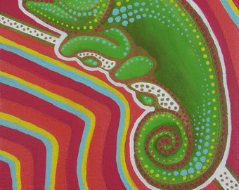"Original Acrylic Painting of CANDY CHAMELEON - 10""x8"" Large Bold Bright Acrylic with Gold Detailing on Stretched Canvas"