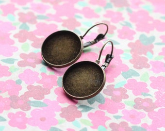 Antiqued Bronze Brass Cabochon Lever Back Earring for 18mm Round Cabochon Earwires 6 pieces