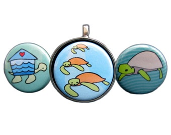 Sea Turtles Necklace Set - Turtle Pendants - 3 Interchangeable Sea Turtle Magnets with Pewter Pendant