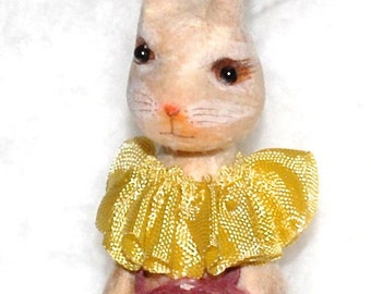 Spun cotton mushroom hare ornament  OOAK Easter bunny rabbit vintage craft by jejeMae