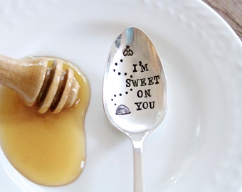 I'm Sweet On You - Stamped Vintage Spoon - For Such A TIme Designs - Coffee Lover Valentines