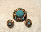 West Germany Brooch and Matching Earrings / Turquoise and Pearl Brooch with Matching Earrings from West Germany