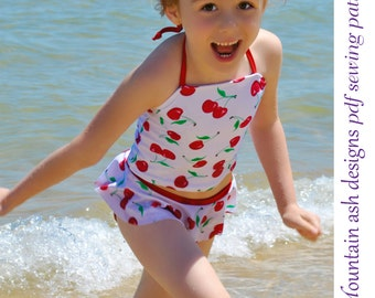 Ruffle Tankini Swimsuit Pattern Swimwear Separates 2 pdf sewing pattern