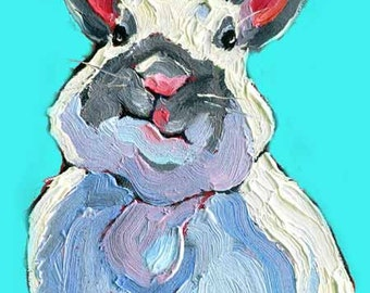 Bunny Rabbit Print, Rabbit Painting, White Rabbit Art with Attitude,  Nursery Art -10 x 8 by Jemmas Gems
