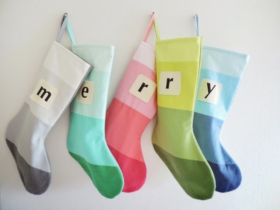Personalized Christmas Stocking Personalized Modern Striped Colorblock Personalized Stocking Monogram Color Block Girl Boy Wonderland Yellow